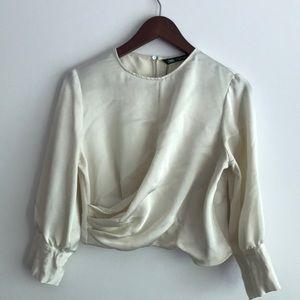 Zara cream satin blouse